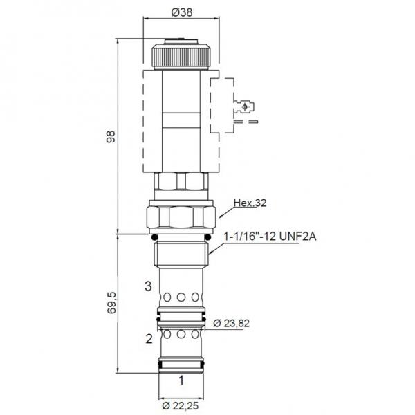 3/2 Wege Sitzventil CT-404.2 Einschraubpatrone 50/350