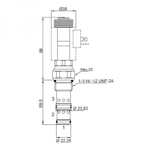 3 Wege Proportional Stromregelventil 60 l/min, 350 bar