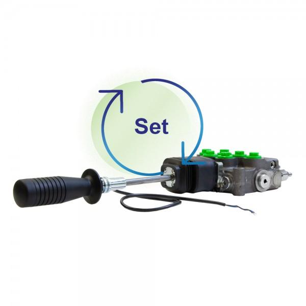Monoblock 2-fach 45 l/min (manuell) Einhebelsteuergerät mit Kreuzhebel und Griff mit Taster - HydroControl M45