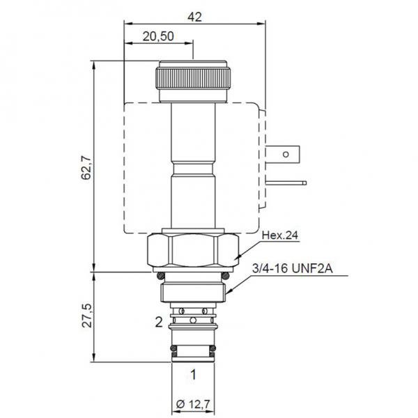2/2 Wege Sitzventil CT-552 NC Komplett 12V 30/300