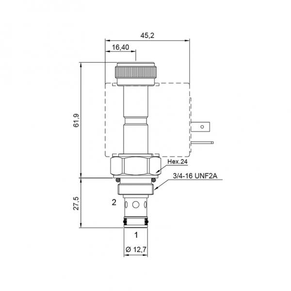 2/2 Wege Sitzventil CT-502 NC Komplett 12V 20/250
